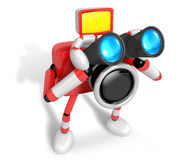 3D Red camera Character telescopes looking towards the right. Cr Royalty Free Stock Photo