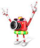 3D Red Camera Character on their Vacation journey. Create 3D Cam Stock Images