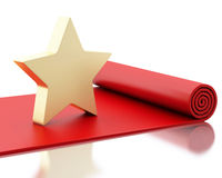 3d Red carpet with a big star. Stock Image