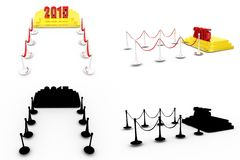 3d  2015 red carpet concept collections with alpha and shadow channel Stock Photos