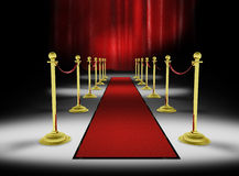 3d: Red Carpet with Red Curtain Background Stock Image