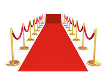 3d Red carpet with stairs at the end. 3d render of a red carpet leading to stairs Stock Photos