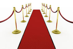 3d: Red Carpet with Stanchions for Movie Premiere Stock Images