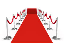 3d Red carpet and velvet ropes Stock Image