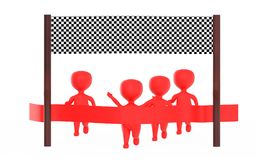 3d red character is about to cross the finish line precceding many other character,s. 3d rendering Stock Photo