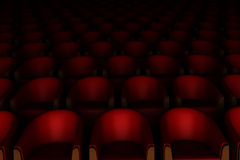 3d red cinema chairs Royalty Free Stock Photo