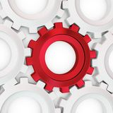 3d red cog with white crowd Stock Photos