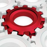 3d red cog with white crowd. On white background Stock Photos