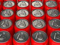 3d red cold drink cans Royalty Free Stock Photos