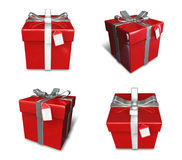 3D red color gift box set in a square. 3D Icon Design Series. Stock Photos
