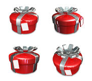 3D red color round gift box set. 3D Icon Design Series. Royalty Free Stock Photo