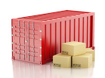 3d Red container with cardboard boxes. Royalty Free Stock Photography