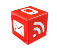 3d red cube. With communication symbols Stock Photography