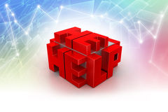 3d red cubes with logo HELP Royalty Free Stock Photography