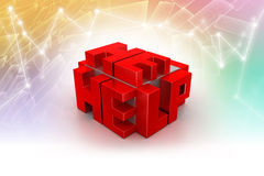 3d red cubes with logo HELP Royalty Free Stock Images