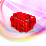 3d red cubes with logo HELP. In color background Royalty Free Stock Photo