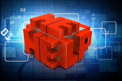3d red cubes with logo HELP. In color background Stock Image