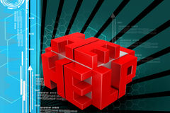 3d red cubes with logo HELP Stock Photos