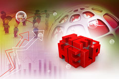 3d red cubes with logo HELP Royalty Free Stock Photos