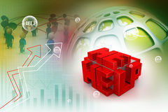 3d red cubes with logo HELP Stock Images