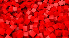 3D red cubes pile. Abstract background Stock Image