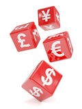 3d Red currency symbol dice falling Stock Photos