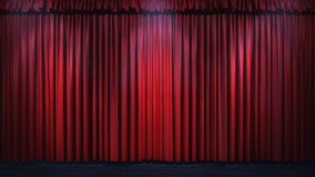 3d red curtain lit by spot lights Royalty Free Stock Photography