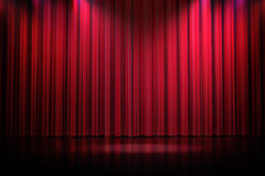 3d red curtain lit by spot lights Stock Photos