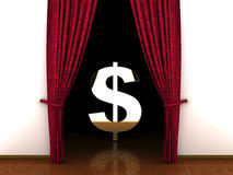 3d Red curtain, open and dollar sign Royalty Free Stock Images
