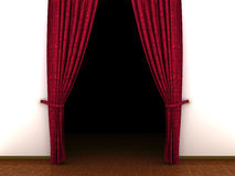3d Red curtain, open and empty, dark inside Royalty Free Stock Photography