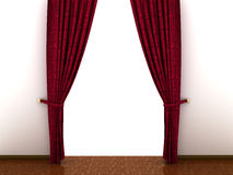 3d Red curtain, open and empty Royalty Free Stock Photo