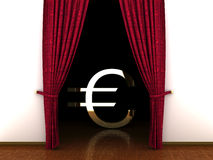 3d Red curtain, open and Euro sign Royalty Free Stock Photography