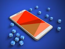 3d red. 3d illustration of white phone over blue background with binary cubes and Royalty Free Stock Photo