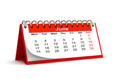 Month of june 2013. 3d red desk paper 2013 year calendar - month of june Royalty Free Stock Photo