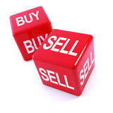 3d Red dice, buy and sell. 3d render of two red dice with the  words buy and sell Stock Photography