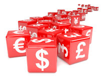 3d Red dice marked with currency symbols Stock Images