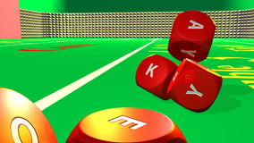 3D red dices rolling into a bright casino environment stock footage