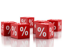 3d Red discount cubes. Sale concept. Stock Images