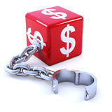 3d Red dollar dice leg iron Stock Image