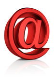 3D Red Email Sign. Red email symbol isolated on white background. 3d render Stock Photo