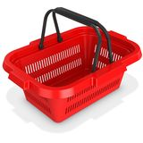 3d red empty shopping basket. On white background Stock Photos