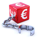 3d Red Euro dice leg iron Stock Photo
