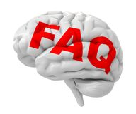 3d red FAQ text on the brain. 3d FAQ text on the brain isolated on white background Royalty Free Stock Images