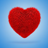 3d red fluffy heart. On blue background vector illustration