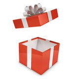 3d Red gift box lid flies off Royalty Free Stock Photography