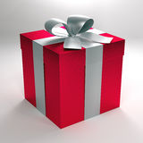 3d red gift box with silver ribbon and bow Stock Photos