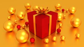 3d red gift box  tied with a GOLDEN satin ribbon bow. And golden balls on golden background.for Christmas and HAPPY new year.2018 Royalty Free Stock Photography