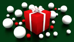 3d RED gift box  tied with a WHITE satin ribbon bow. And WHITE balls on green background.for Christmas and HAPPY new year.2018 Stock Photo
