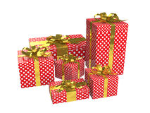 3d red gift boxes with golden ribbon Stock Photos