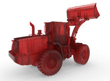 3D red glass bulldozer concept. 3D rendered illustration of a glass textured bulldozer. The composition is isolated on a white background with shadows Royalty Free Stock Photography